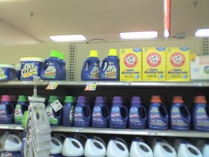 Supermarket shelf with laundry detergent