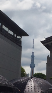 Peeking through the buildings at Ueno Park is the Skytree.